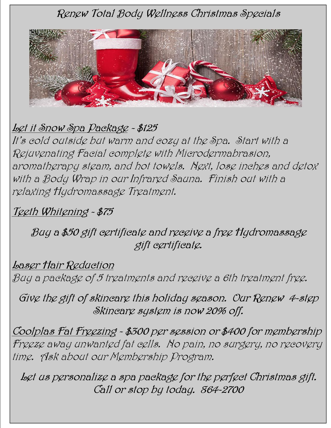 Renew Christmas Specials | Renew My Image Medical Spa